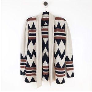BB Dakota Tribal Chunky Knit Sweater Tan Black M